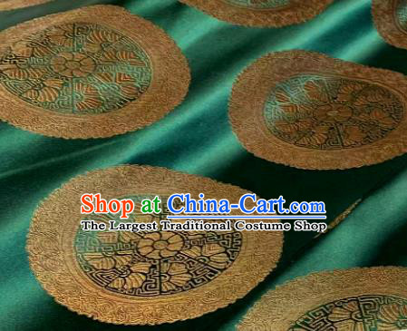 Chinese Classical Green Satin Traditional Wheel Pattern Design Brocade Drapery Asian Tang Suit Silk Fabric Material