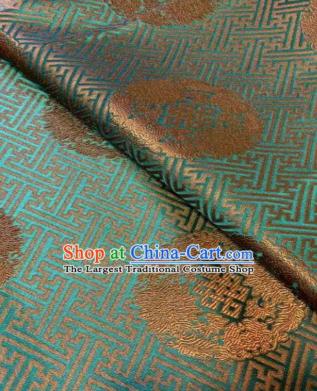 Chinese Classical Green Satin Traditional Longevity Chrysanthemum Pattern Design Brocade Drapery Asian Tang Suit Silk Fabric Material