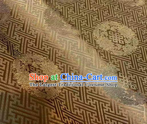 Chinese Classical Bronze Satin Traditional Longevity Chrysanthemum Pattern Design Brocade Drapery Asian Tang Suit Silk Fabric Material