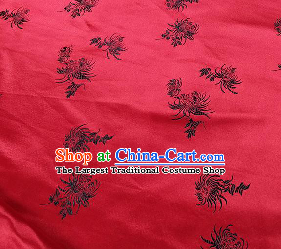 Traditional Chinese Classical Chrysanthemum Pattern Design Fabric Red Brocade Tang Suit Satin Drapery Asian Silk Material