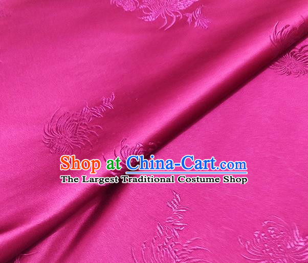 Traditional Chinese Classical Chrysanthemum Pattern Design Fabric Rosy Brocade Tang Suit Satin Drapery Asian Silk Material