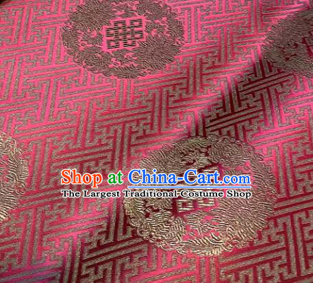 Chinese Classical Rosy Satin Traditional Longevity Chrysanthemum Pattern Design Brocade Drapery Asian Tang Suit Silk Fabric Material