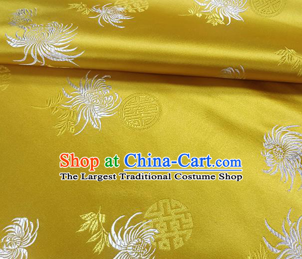 Traditional Chinese Classical Chrysanthemum Pattern Design Fabric Yellow Brocade Tang Suit Satin Drapery Asian Silk Material