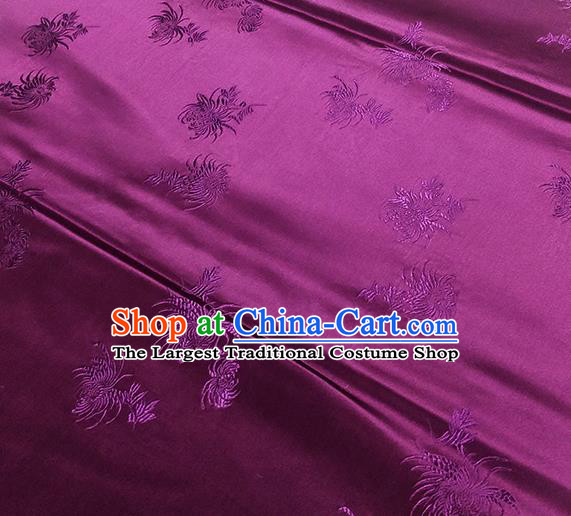 Traditional Chinese Classical Chrysanthemum Pattern Design Fabric Purple Brocade Tang Suit Satin Drapery Asian Silk Material
