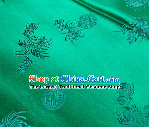 Traditional Chinese Classical Chrysanthemum Pattern Design Fabric Light Green Brocade Tang Suit Satin Drapery Asian Silk Material