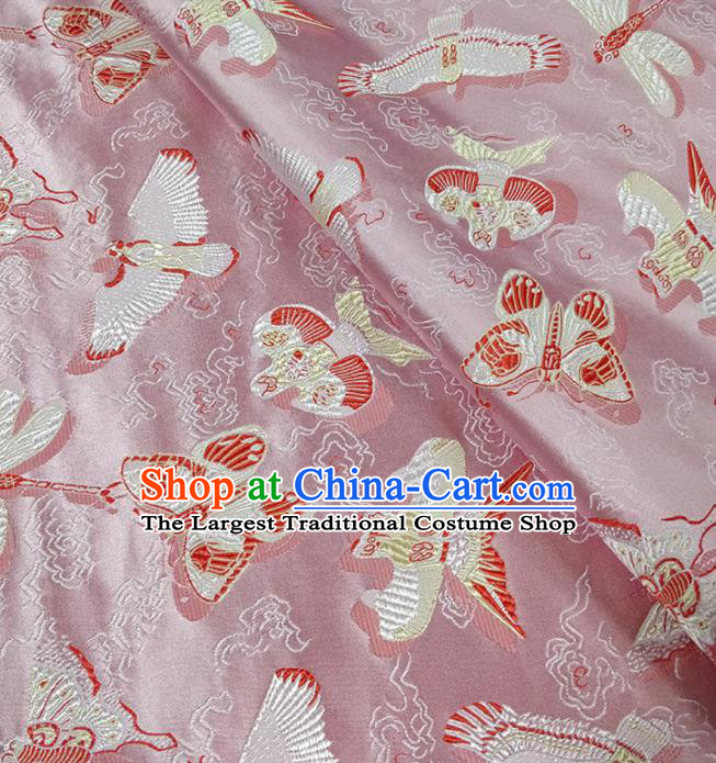 Traditional Chinese Classical Kites Pattern Design Fabric Pink Brocade Tang Suit Satin Drapery Asian Silk Material