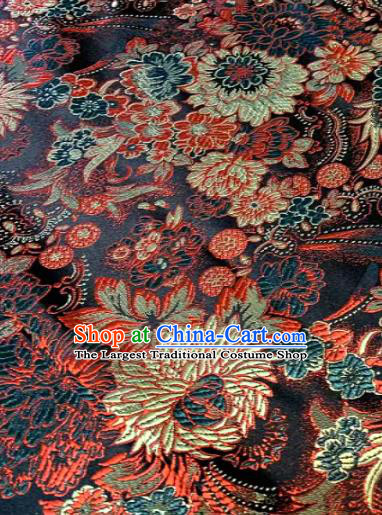 Japan Classical Chrysanthemum Pattern Design Black Brocade Asian Japanese Traditional Kimono Silk Fabric Material