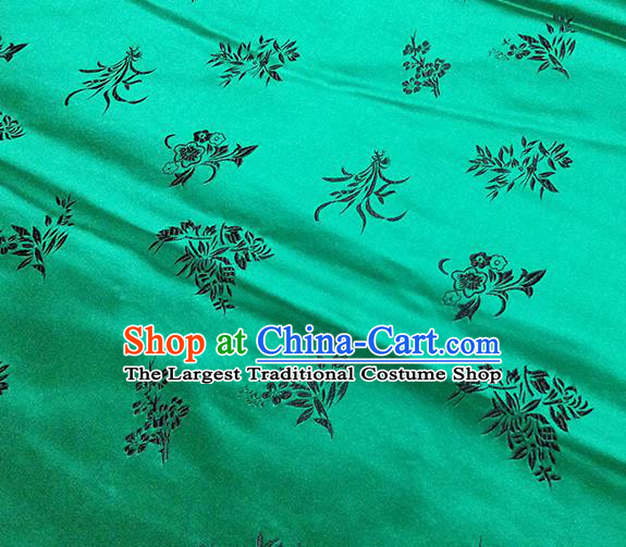 Traditional Chinese Classical Orchid Pattern Design Fabric Green Brocade Tang Suit Satin Drapery Asian Silk Material