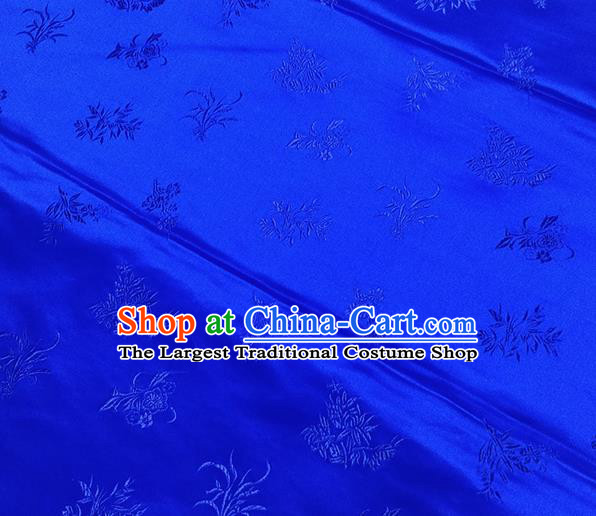 Traditional Chinese Classical Orchid Pattern Design Fabric Royalblue Brocade Tang Suit Satin Drapery Asian Silk Material