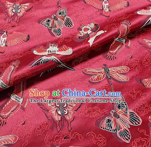 Traditional Chinese Classical Kites Pattern Design Fabric Red Brocade Tang Suit Satin Drapery Asian Silk Material