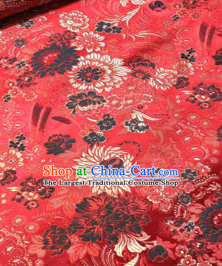 Japan Classical Chrysanthemum Pattern Design Red Brocade Asian Japanese Traditional Kimono Silk Fabric Material