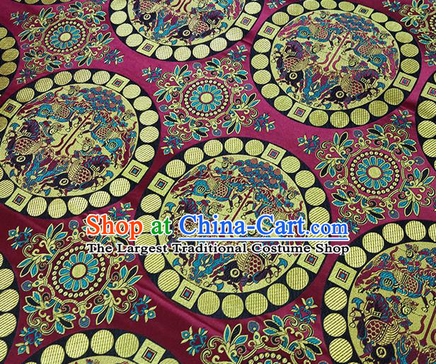 Traditional Chinese Classical Fishes Pattern Design Fabric Wine Red Brocade Tang Suit Satin Drapery Asian Silk Material