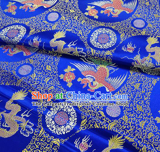 Traditional Chinese Classical Phoenix Pattern Design Fabric Royalblue Brocade Tang Suit Satin Drapery Asian Silk Material