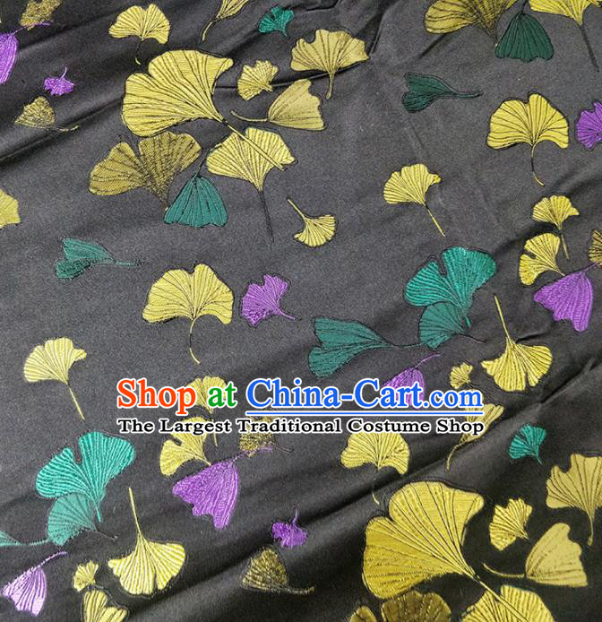 Traditional Chinese Classical Ginkgo Leaf Pattern Design Fabric Black Brocade Tang Suit Satin Drapery Asian Silk Material