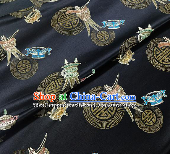 Traditional Chinese Classical Wine Cup Pattern Design Fabric Black Brocade Tang Suit Satin Drapery Asian Silk Material