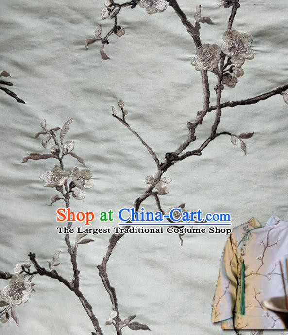 Traditional Chinese Classical Embroidered Plum Blossom Pattern Design Fabric Blue Brocade Tang Suit Satin Drapery Asian Silk Material
