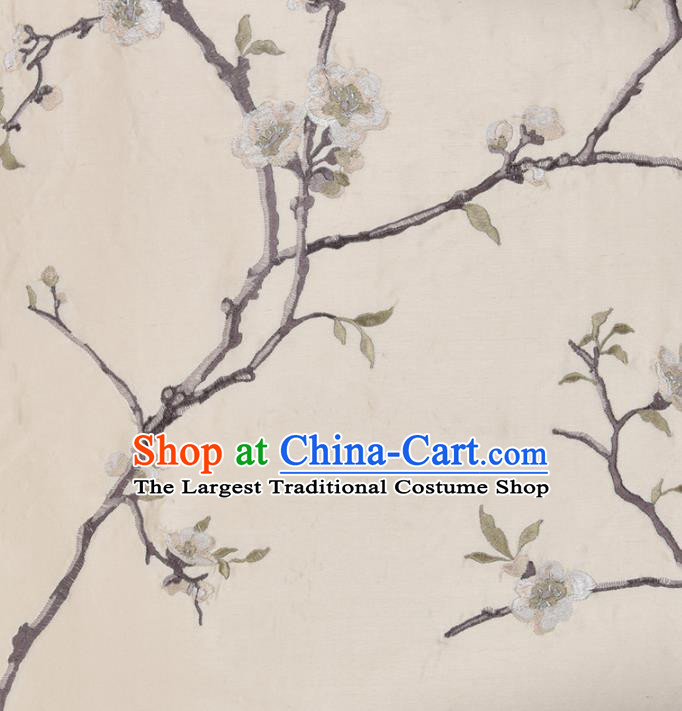 Traditional Chinese Classical Embroidered Plum Blossom Pattern Design Fabric Beige Brocade Tang Suit Satin Drapery Asian Silk Material