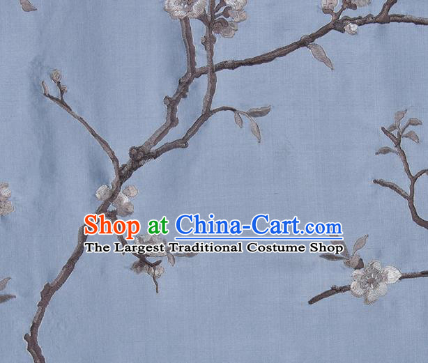 Traditional Chinese Classical Embroidered Plum Blossom Pattern Design Fabric Light Blue Brocade Tang Suit Satin Drapery Asian Silk Material