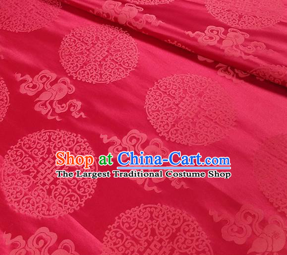 Traditional Chinese Classical Ribbon Cucurbit Pattern Design Fabric Red Brocade Tang Suit Satin Drapery Asian Silk Material