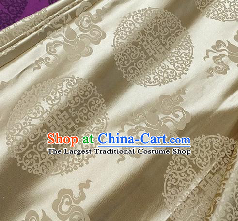 Traditional Chinese Classical Ribbon Cucurbit Pattern Design Fabric Light Golden Brocade Tang Suit Satin Drapery Asian Silk Material