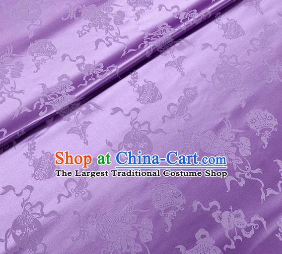 Traditional Chinese Classical Ribbon Cucurbit Pattern Design Fabric Light Purple Brocade Tang Suit Satin Drapery Asian Silk Material