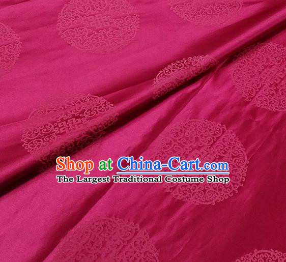 Traditional Chinese Classical Ribbon Cucurbit Pattern Design Fabric Rosy Brocade Tang Suit Satin Drapery Asian Silk Material