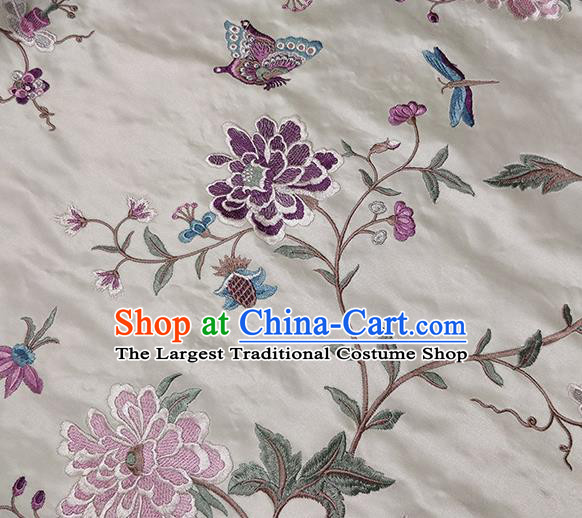 Traditional Chinese Classical Embroidered Purple Peony Pattern Design Fabric Brocade Tang Suit Satin Drapery Asian Silk Material