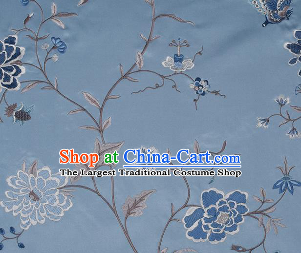 Traditional Chinese Classical Embroidered Peony Pattern Design Fabric Blue Brocade Tang Suit Satin Drapery Asian Silk Material