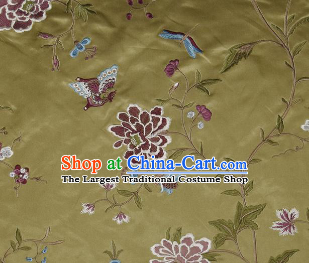 Traditional Chinese Classical Embroidered Peony Pattern Design Fabric Olive Green Brocade Tang Suit Satin Drapery Asian Silk Material