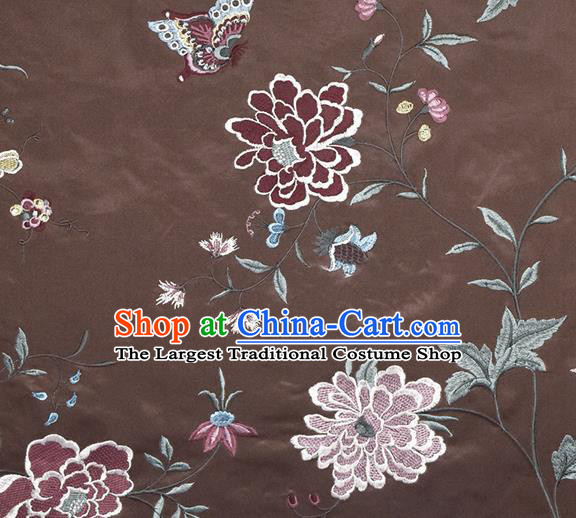 Traditional Chinese Classical Embroidered Peony Pattern Design Fabric Brown Brocade Tang Suit Satin Drapery Asian Silk Material
