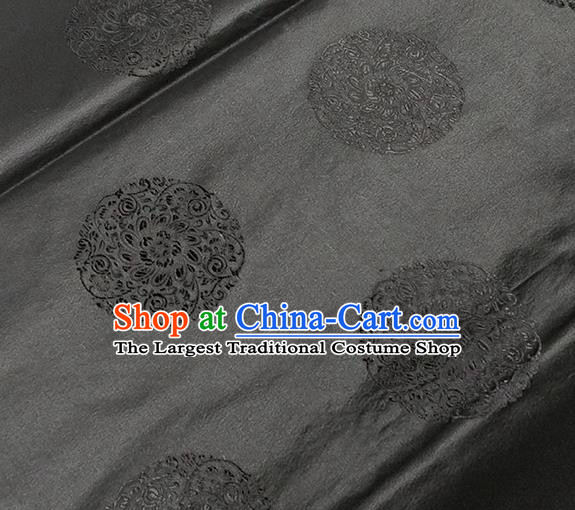 Traditional Chinese Classical Round Flowers Pattern Design Fabric Black Brocade Tang Suit Satin Drapery Asian Silk Material