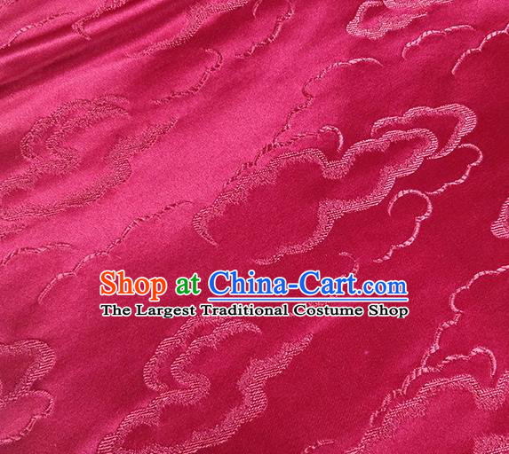 Traditional Chinese Classical Auspicious Clouds Pattern Design Fabric Wine Red Brocade Tang Suit Satin Drapery Asian Silk Material