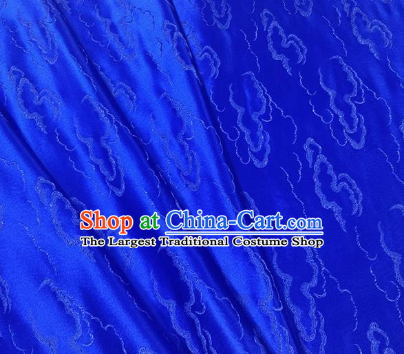 Traditional Chinese Classical Auspicious Clouds Pattern Design Fabric Royalblue Brocade Tang Suit Satin Drapery Asian Silk Material