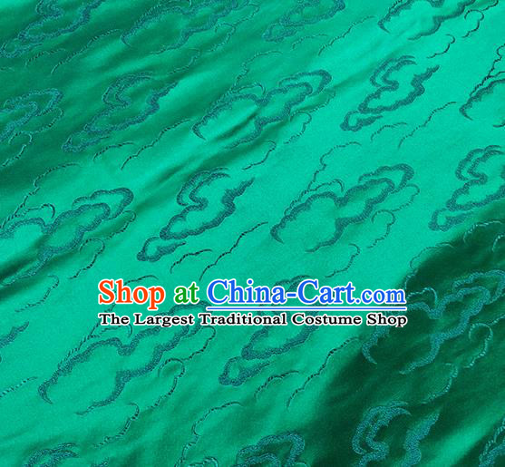 Traditional Chinese Classical Auspicious Clouds Pattern Design Fabric Green Brocade Tang Suit Satin Drapery Asian Silk Material