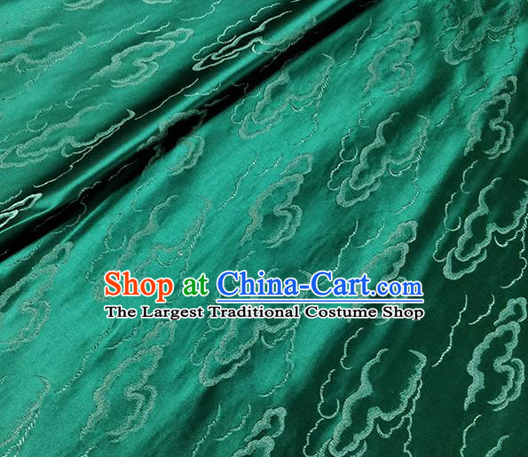 Traditional Chinese Classical Auspicious Clouds Pattern Design Fabric Deep Green Brocade Tang Suit Satin Drapery Asian Silk Material