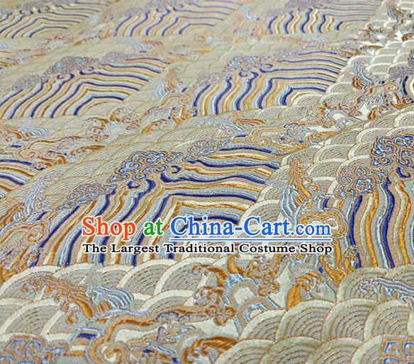 Traditional Chinese Classical Waves Pattern Design Fabric Beige Brocade Tang Suit Satin Drapery Asian Silk Material