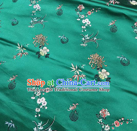 Traditional Chinese Classical Plum Orchid Bamboo Chrysanthemum Pattern Design Fabric Green Brocade Tang Suit Satin Drapery Asian Silk Material