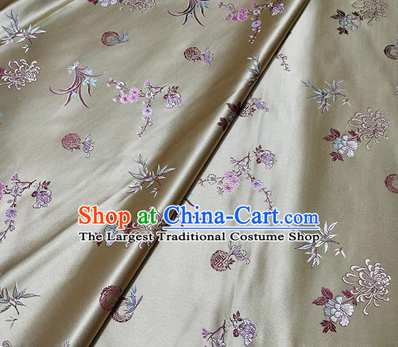 Traditional Chinese Classical Plum Orchid Bamboo Chrysanthemum Pattern Design Fabric Light Golden Brocade Tang Suit Satin Drapery Asian Silk Material