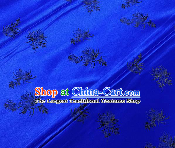 Traditional Chinese Classical Chrysanthemum Pattern Design Fabric Royalblue Brocade Tang Suit Satin Drapery Asian Silk Material