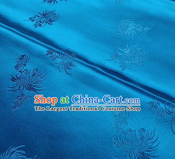 Traditional Chinese Classical Chrysanthemum Pattern Design Fabric Blue Brocade Tang Suit Satin Drapery Asian Silk Material