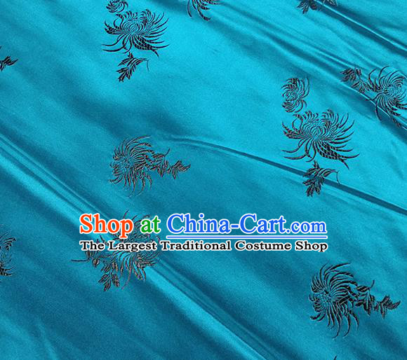Traditional Chinese Classical Chrysanthemum Pattern Design Fabric Peacock Blue Brocade Tang Suit Satin Drapery Asian Silk Material