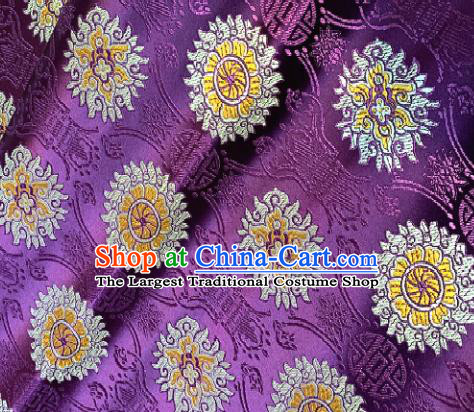 Chinese Classical Purple Brocade Traditional Pattern Design Satin Drapery Asian Tang Suit Silk Fabric Material