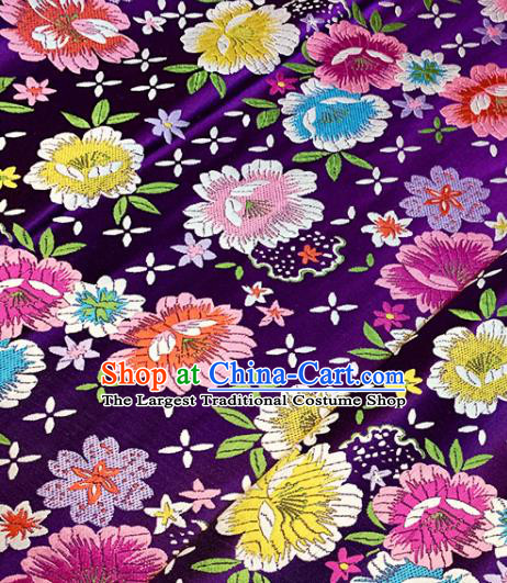 Chinese Traditional Purple Brocade Classical Peony Pattern Design Satin Drapery Asian Tang Suit Silk Fabric Material