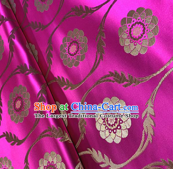 Chinese Traditional Lotus Pattern Design Rosy Brocade Classical Satin Drapery Asian Tang Suit Silk Fabric Material