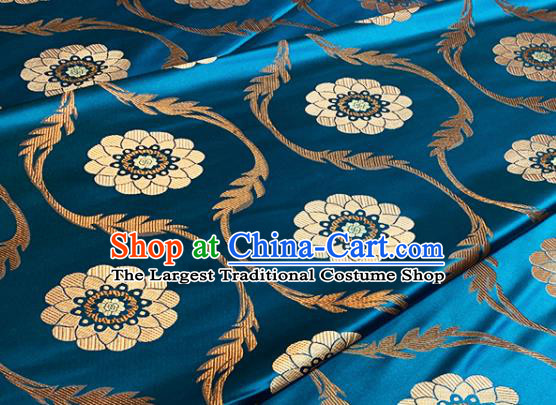 Chinese Traditional Lotus Pattern Design Blue Brocade Classical Satin Drapery Asian Tang Suit Silk Fabric Material