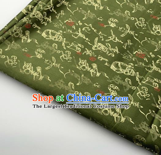 Chinese Traditional Cursive Pattern Design Olive Green Brocade Classical Satin Drapery Asian Tang Suit Silk Fabric Material