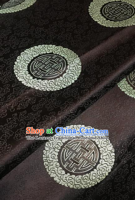 Traditional Chinese Longevity Pattern Design Brown Brocade Classical Satin Drapery Asian Tang Suit Silk Fabric Material
