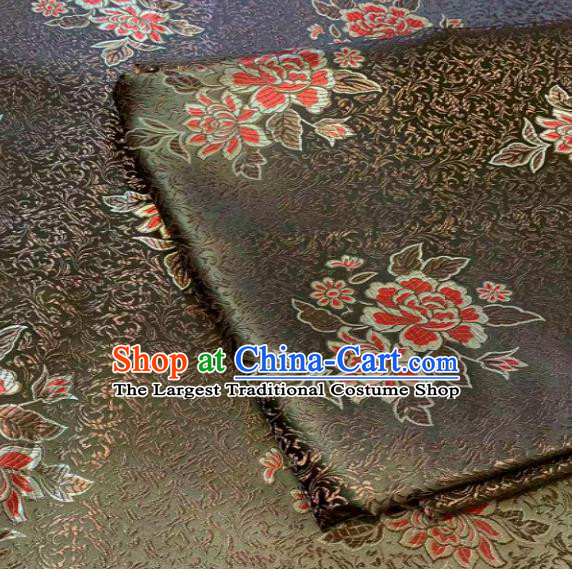 Traditional Chinese Peony Pattern Design Army Green Brocade Classical Satin Drapery Asian Tang Suit Silk Fabric Material