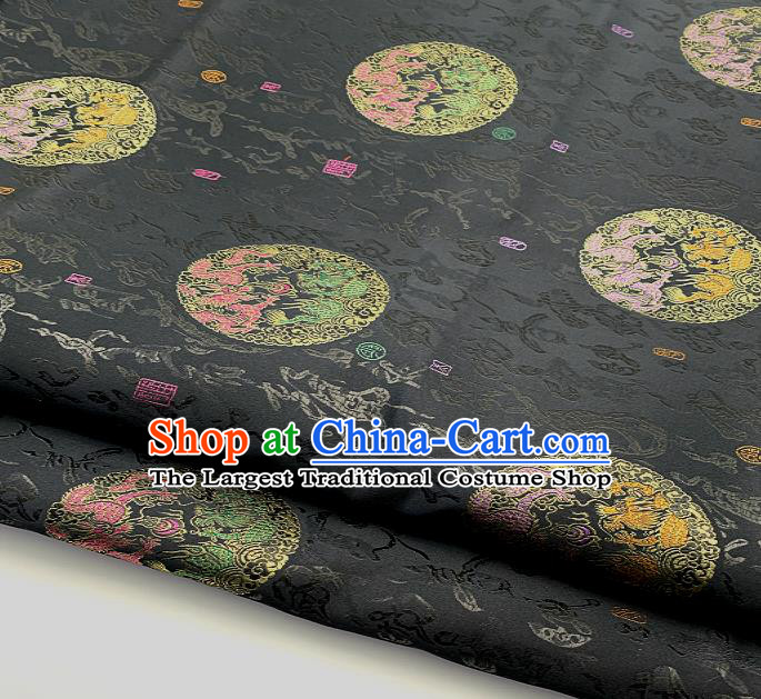 Traditional Chinese Dragon Pattern Design Black Brocade Classical Satin Drapery Asian Tang Suit Silk Fabric Material