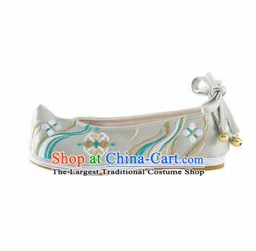 Chinese Ancient Princess Shoes Hanfu Shoes Handmade Green Embroidered Shoes for Women
